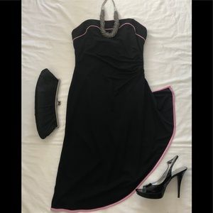 Betsy & Adam Black with Pink Trim Strapless Dress